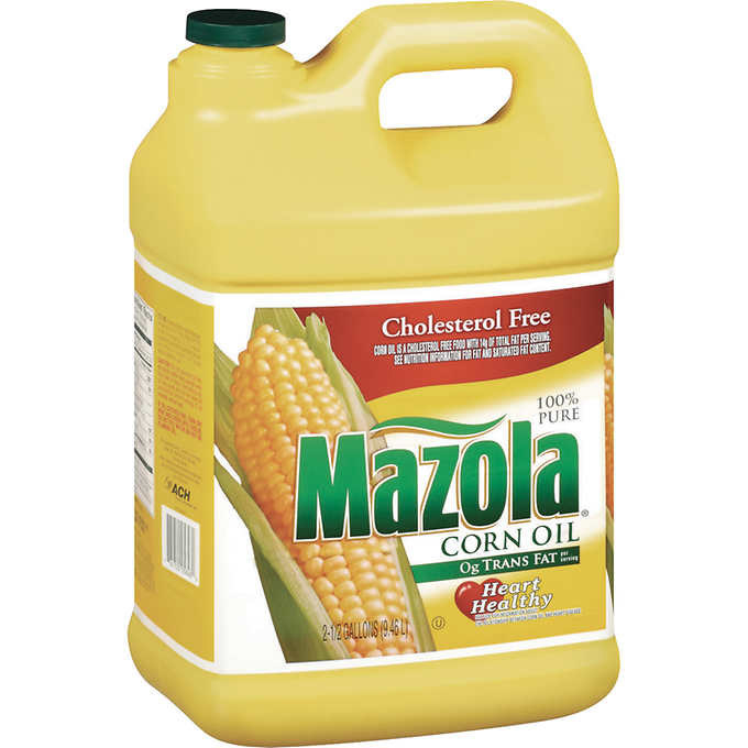 A 2.5 gallon bottle of Mazola