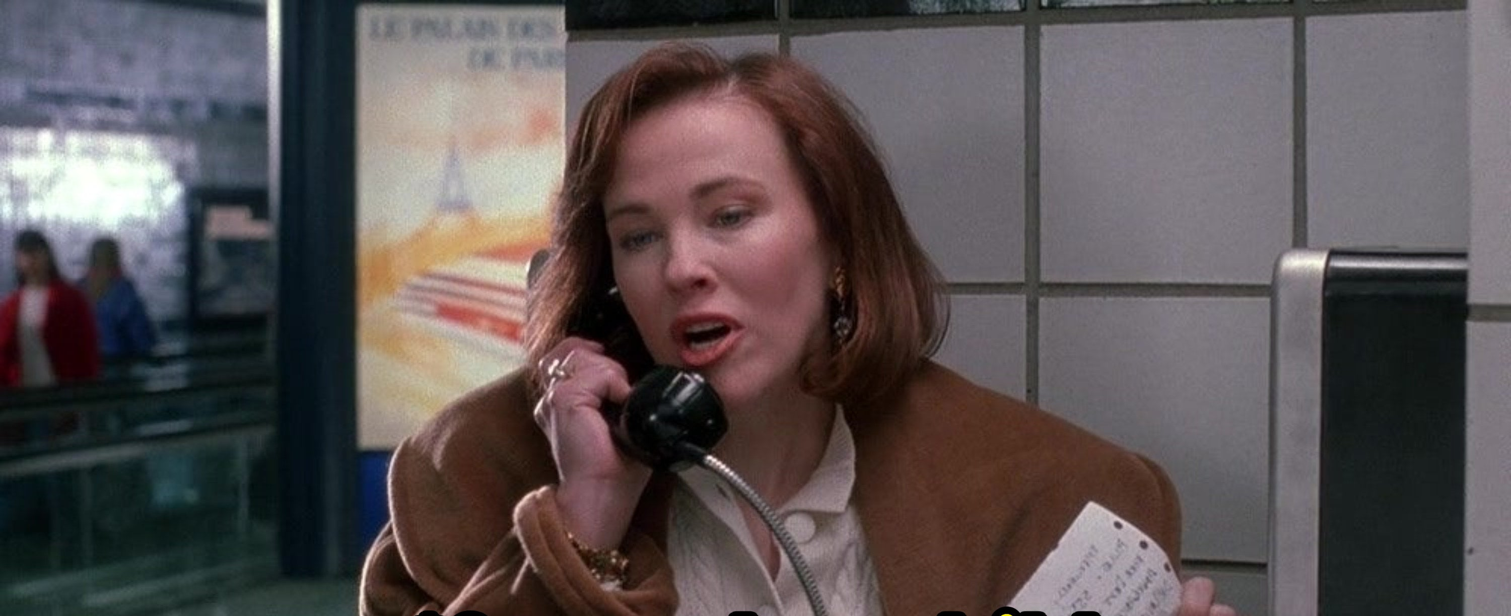 The mom from Home Alone realizing she left Kevin at home.