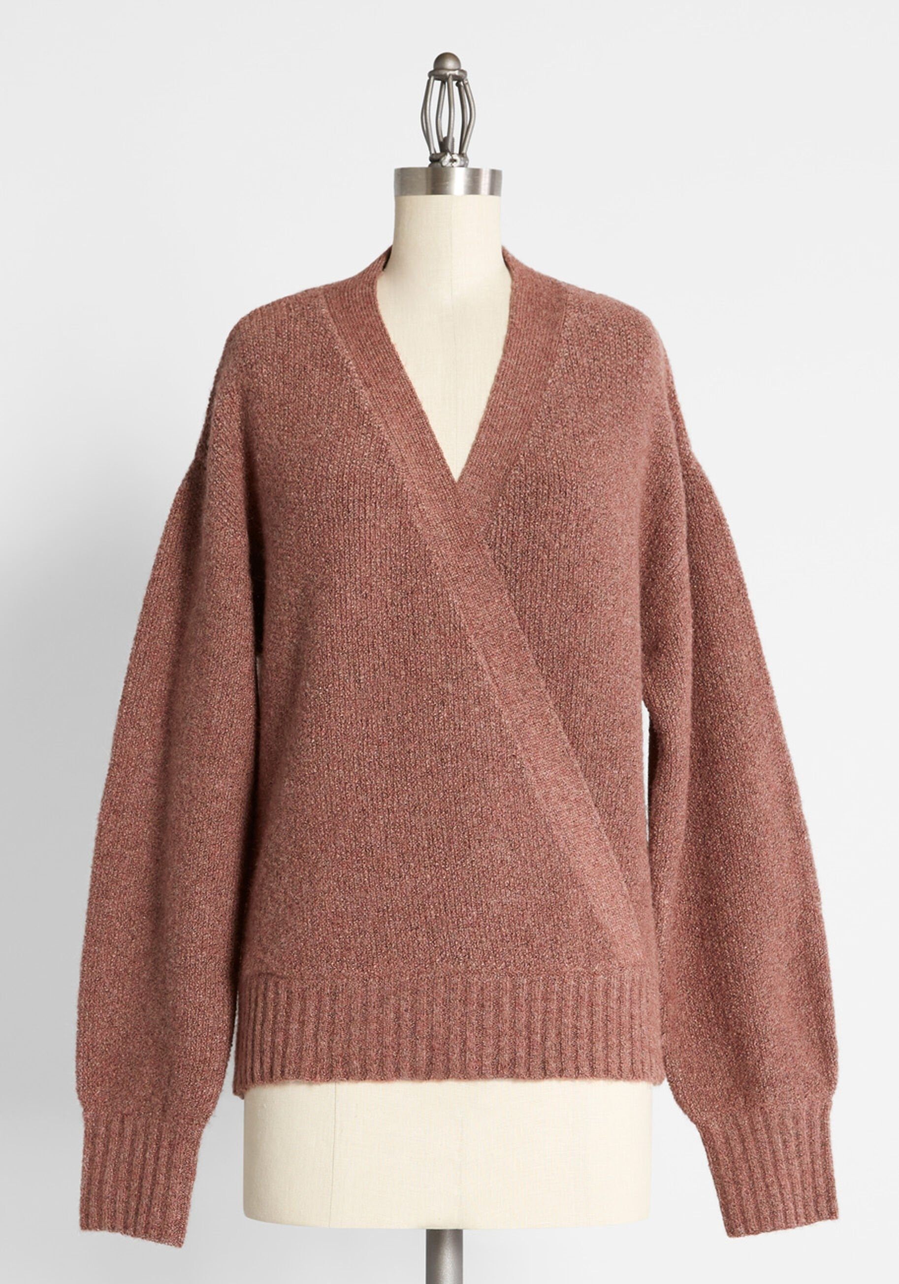 a mauve sweater with a v-neck