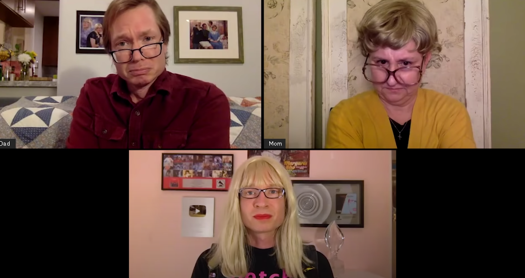 A screenshot of the Zoom call with Kelly's dad almost crying, Kelly's mom looking mad, and Kelly looking happy
