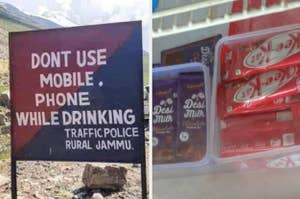 a road sign in india that says don't use mobile phone while drinking and a refrigerator in a shop that contains counterfeit dairy milk and kit kat called desi milk and kee kat