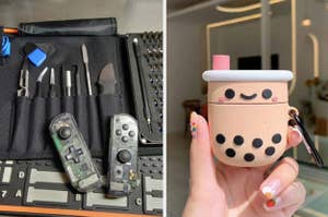 On the left, reviewer shows black tech repair kit next to broken game controller. On the right, model holds boba tea-shaped AirPods case in their manicured hand