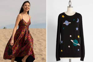 to the left: a model in a gown, to the right: a space themed sweater