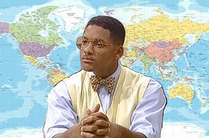 will from fresh prince with reading glasses with a world map background