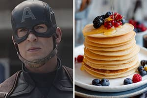 An image of Captain America wearing his helmet next to an image of a plate of pancakes with fruit