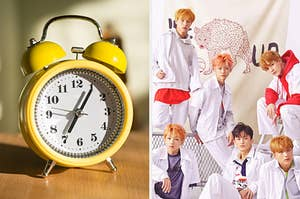 An image of an alarm clock next to an image of a NCT Dream's We Go Up album cover