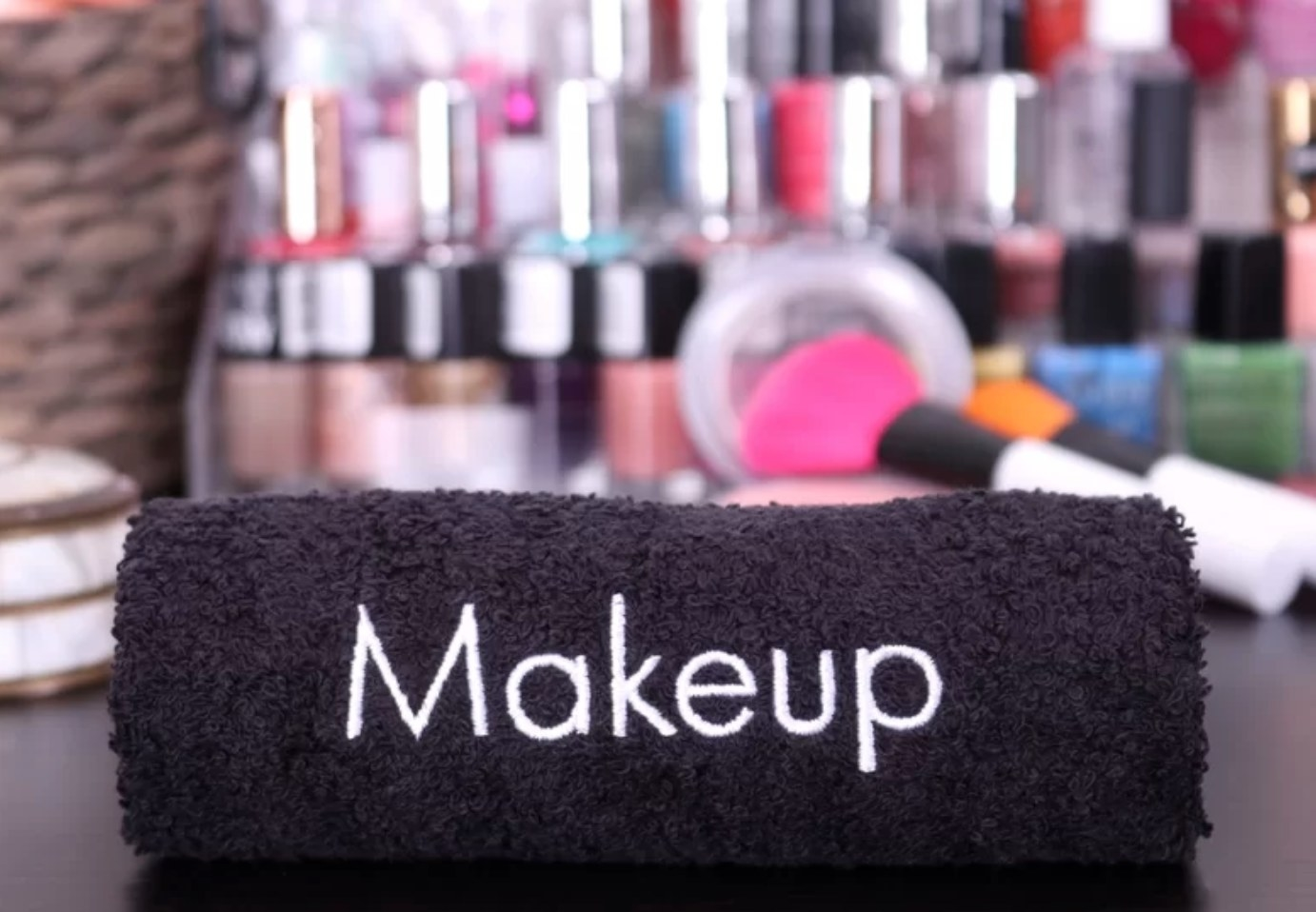 """The black makeup towel with label that says """"makeup"""""""