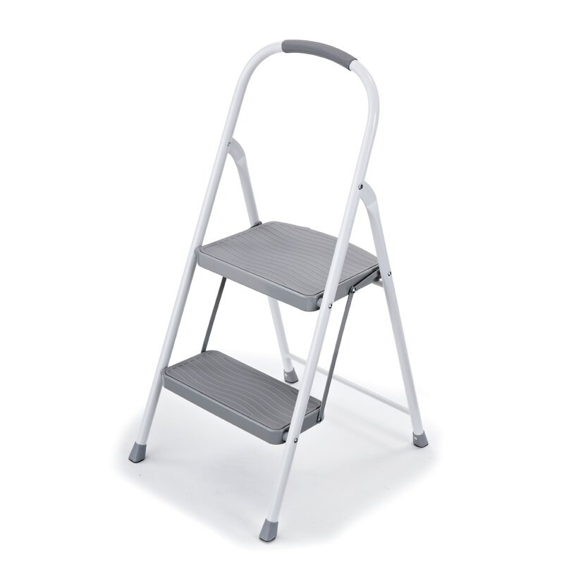 The two-step white stepping stool