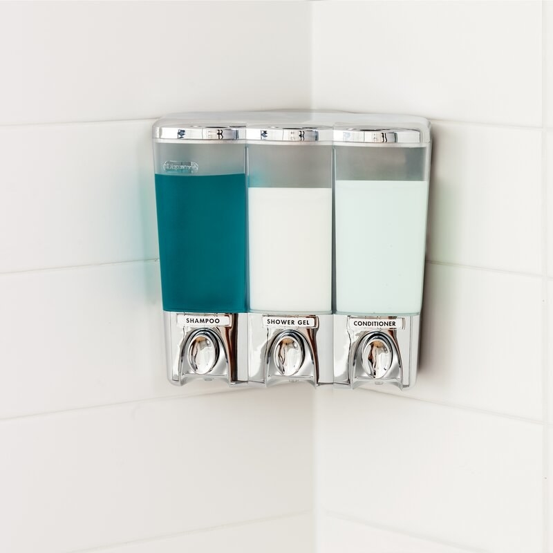 The three-compartment dispenser in shower