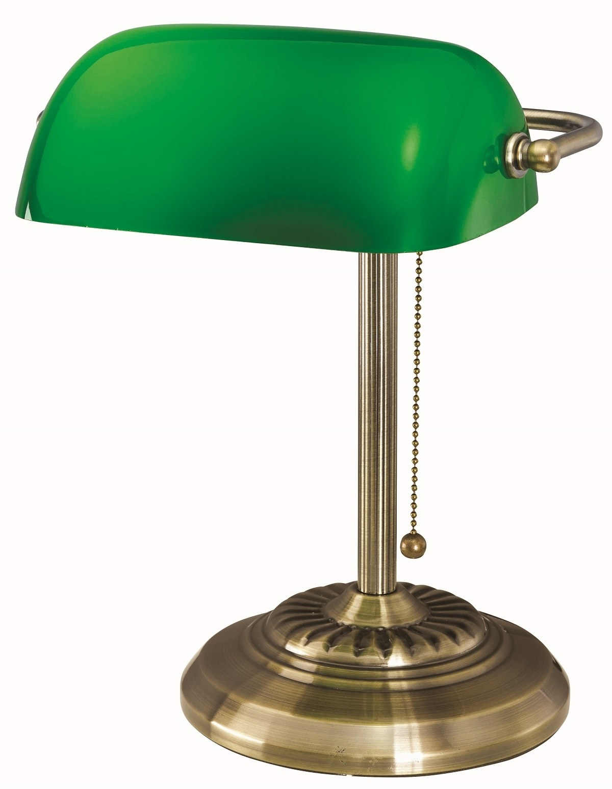 A classic green desk lamp with a brass stand