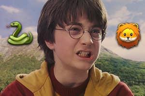 Harry Potter with a snake emoji and a lion emoji
