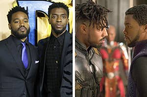 """Side by side of Ryan Coogler and Chadwick Boseman at a """"Black Panther"""" premiere and the characters T'Challa and Erik Killmonger"""