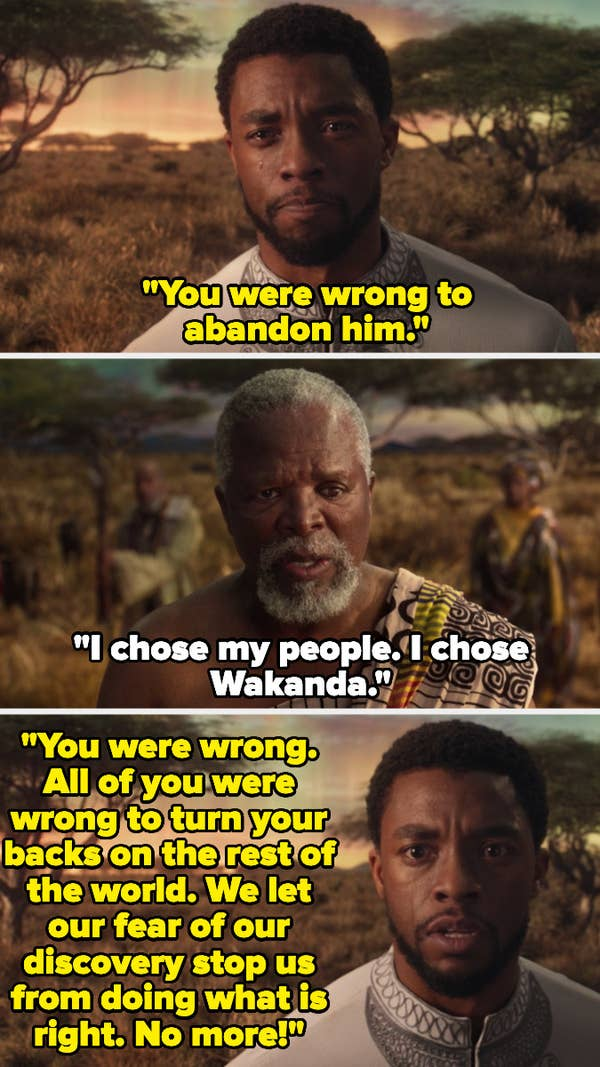 T'Challa telling his father and ancestors that they were wrong for turning their backs on the world.