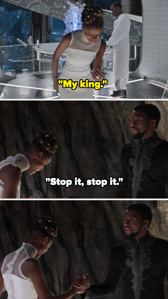 "Shuri saying, ""My king,"" and T'Challa saying, ""Stop it,"" in favor of their handshake."