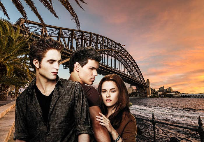 "Edward, Jacob and Bella from ""Twilight"" standing in front of the Sydney Harbour Bridge in Australia"