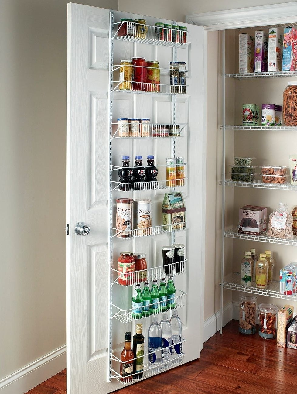 Storage rack in a pantry