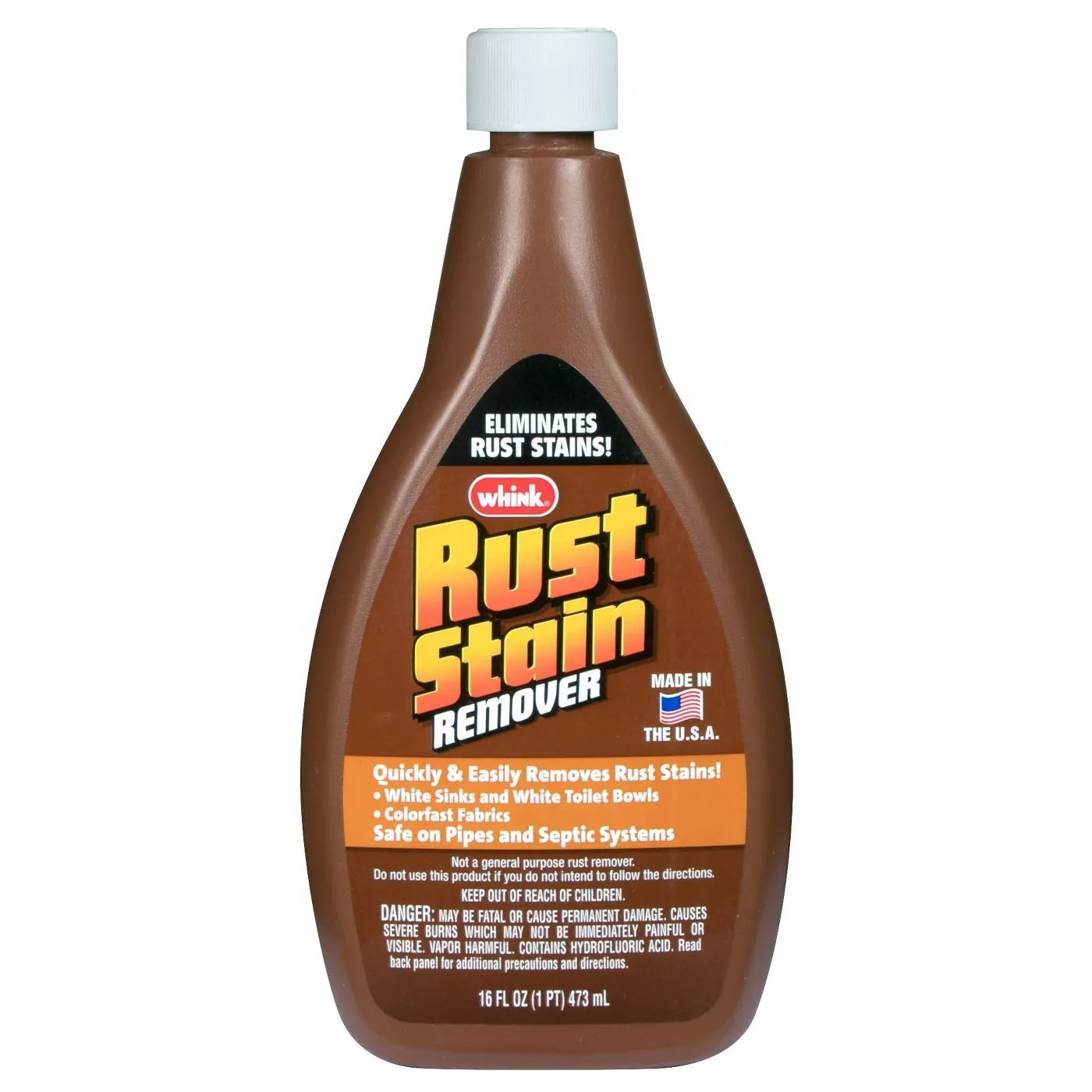 Whink's Rust Stain Remover quickly and easily removes rust stains from white sinks, white toilet bowls, and colorfast fabrics. It's safe on pipes and septic systems