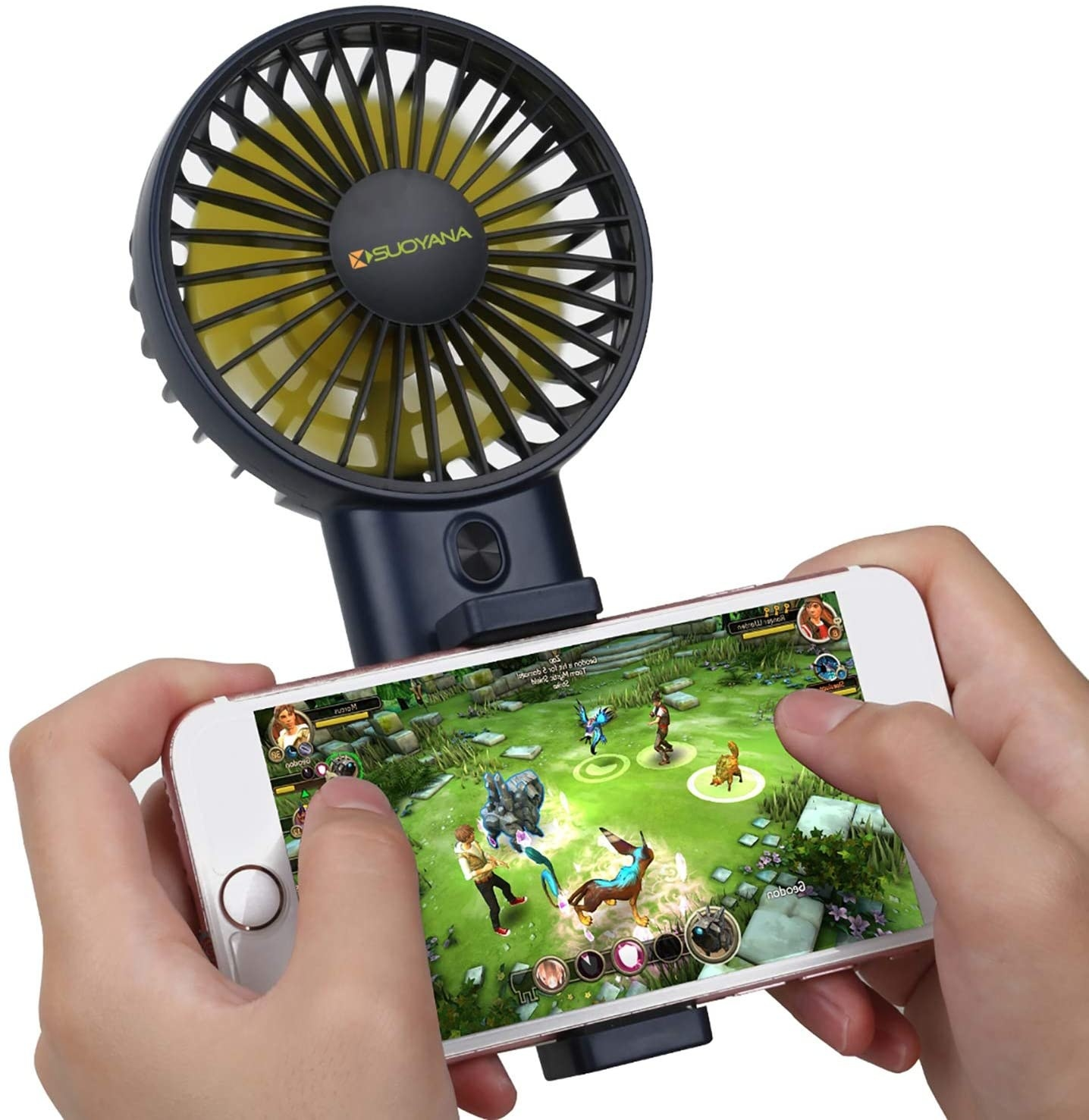 A fan clamped onto a cellphone