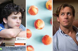 Images of Elio and Oliver with an image of peaches in between them