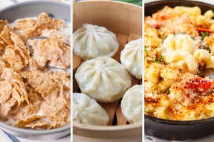 A bowl of cereal, dumplings, and lobster mac 'n' cheese