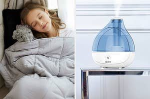 split thumbnail of kid underneath a weighted blanket, a humidifier