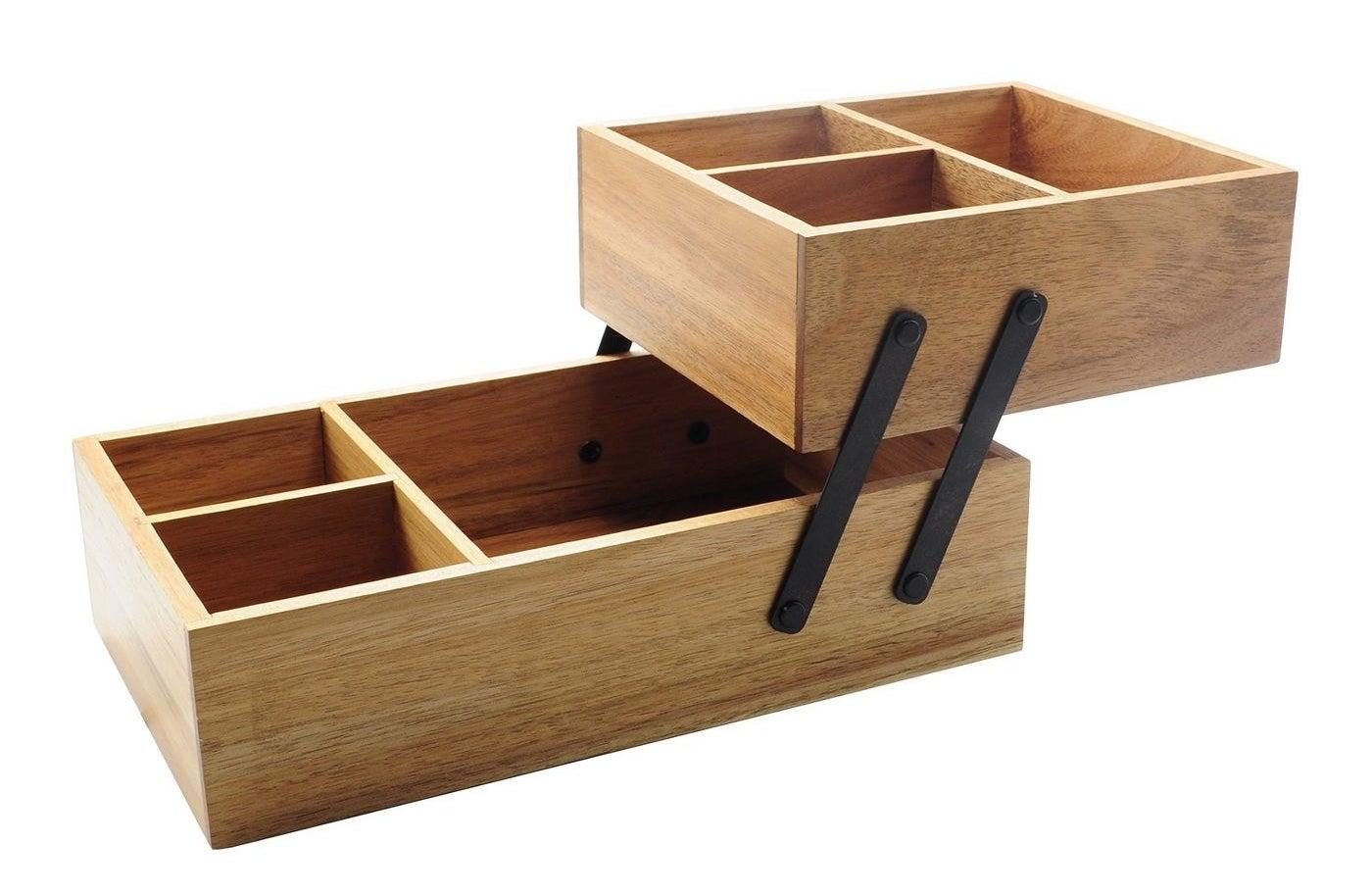 Wooden vanity organizer