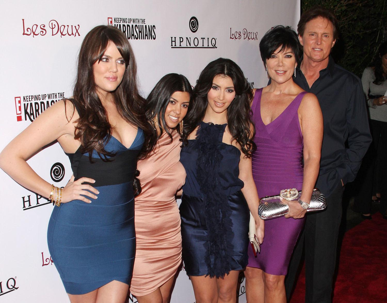 "Kim Kardashian, Khloe Kardashian, Kourtney Kardashian, Kris Jenner, and Bruce Jenner arrive to the Season 2 Launch premiere party of ""Keeping up with the Kardashians"" at Les Deux Night Club on March 19, 2008."