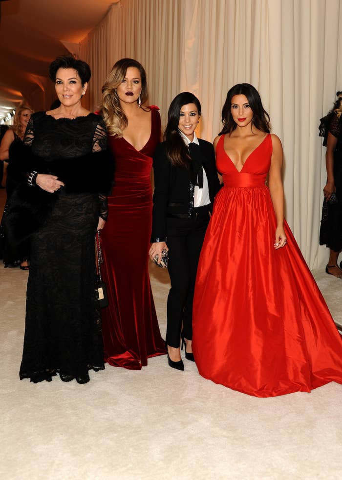 Kris Jenner, Khloe, Kourtney and Kim Kardashian attend the 22nd Annual Elton John AIDS Foundation Academy Awards viewing party with Chopard at the City of West Hollywood Park on March 2, 2014 in West Hollywood, California.