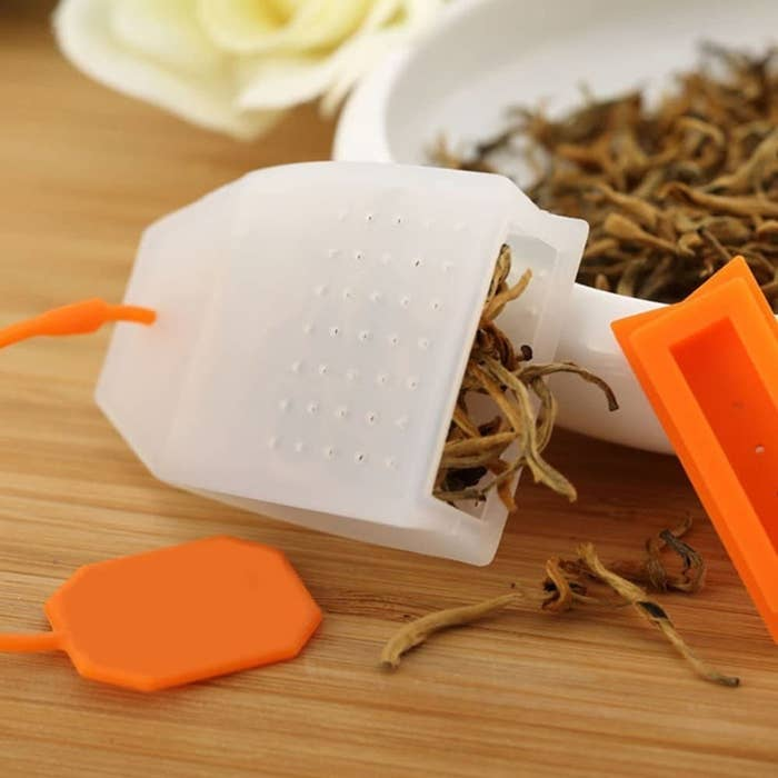 A silicone tea bag with loose leaf tea inside