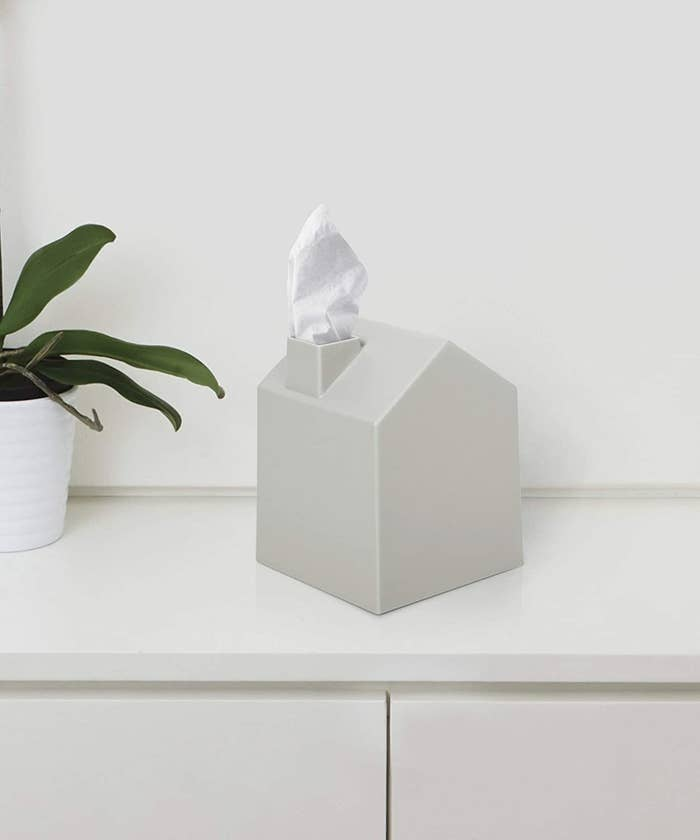 White house-shaped tissue box cover