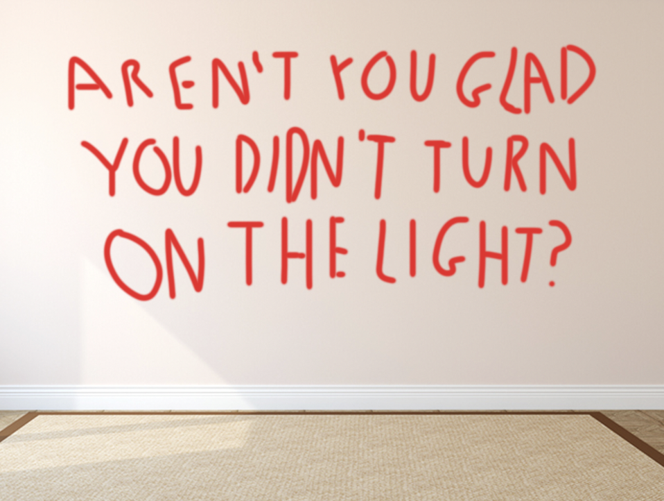 "A wall with ""Aren't you glad you didn't turn on the light?"" written on it"