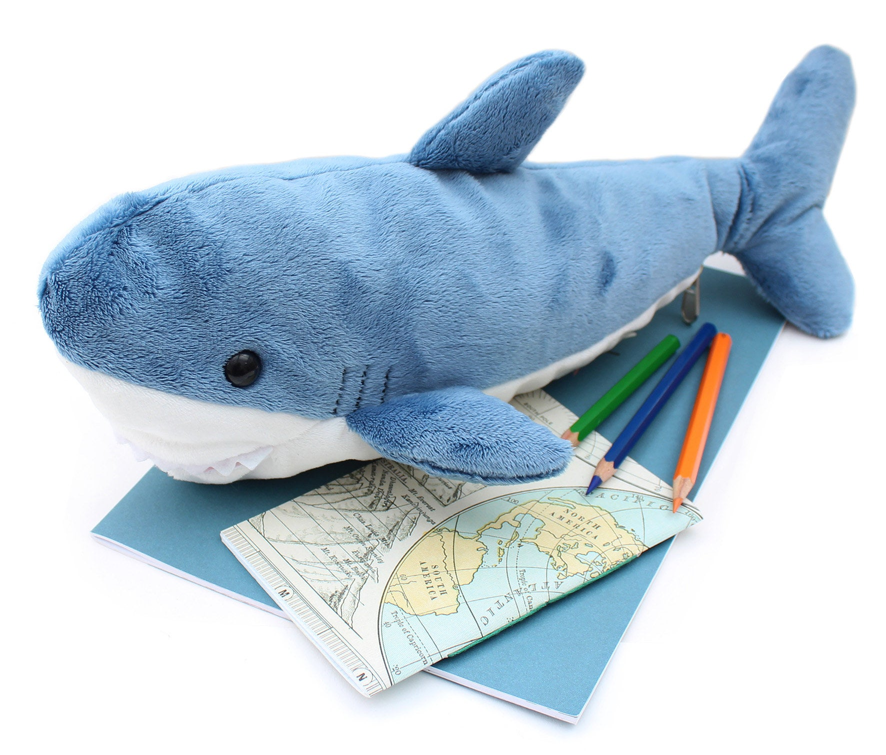 A plush blue and white pencil case in the shape of a shark