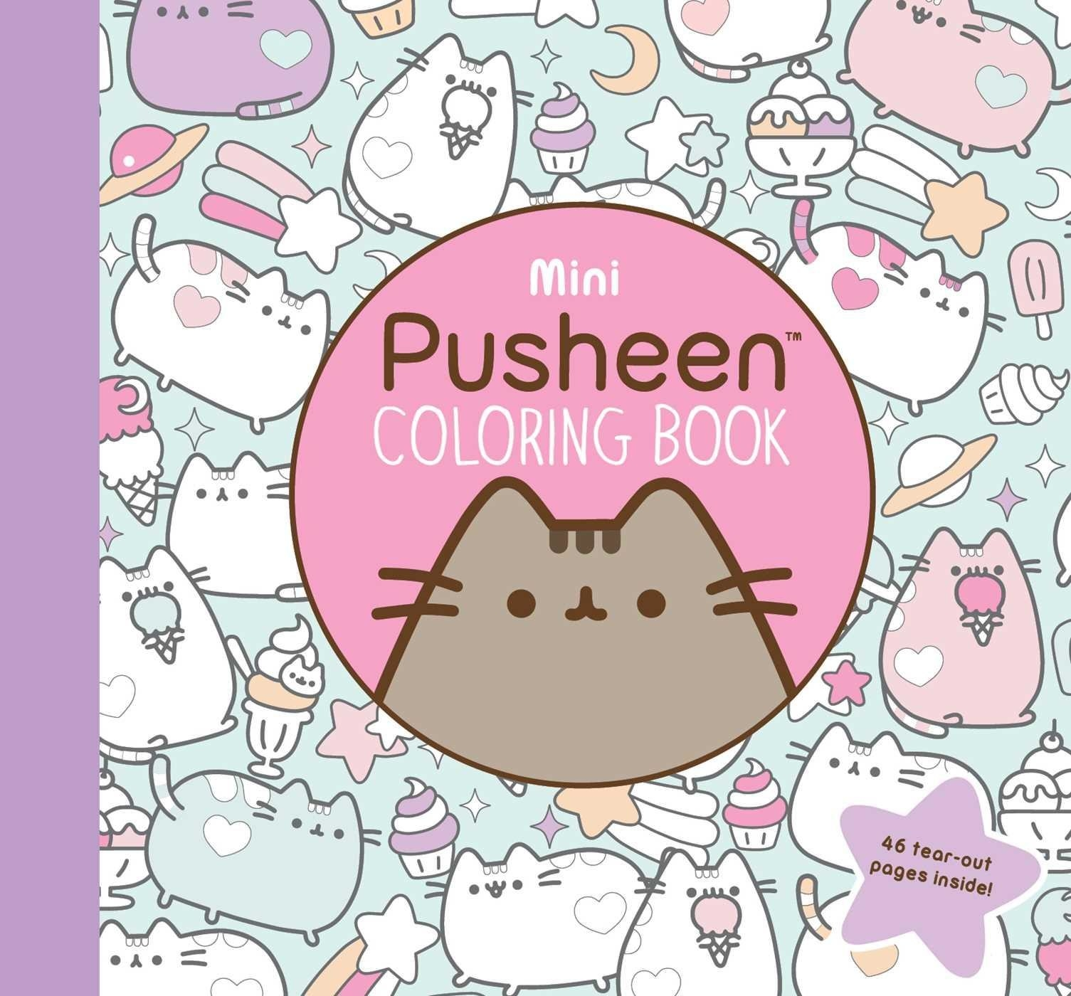 A Pusheen coloring book with various sketches of Pusheen, cupcakes, stars, and ice cream cones