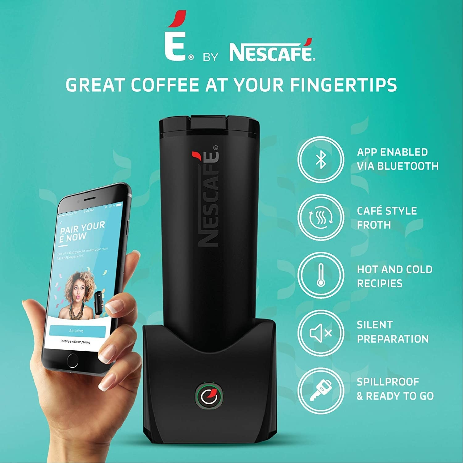 A black Nescafé É Smart Coffee Maker and Travel Mug placed in its dock, with a smartphone shown being paired with it. Its various features are listed alongside.