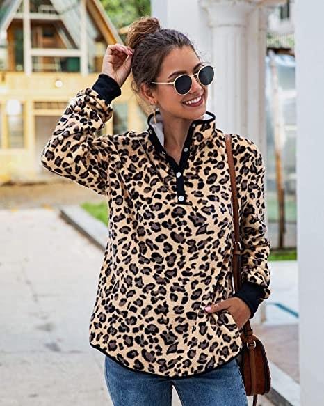 model wearing pullover leopard print fleece