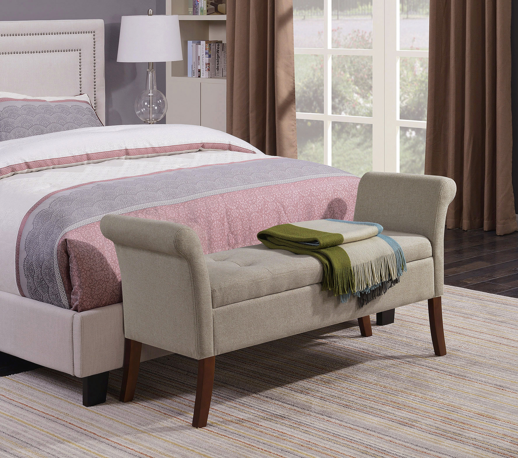 The storage bench at the foot of a bed