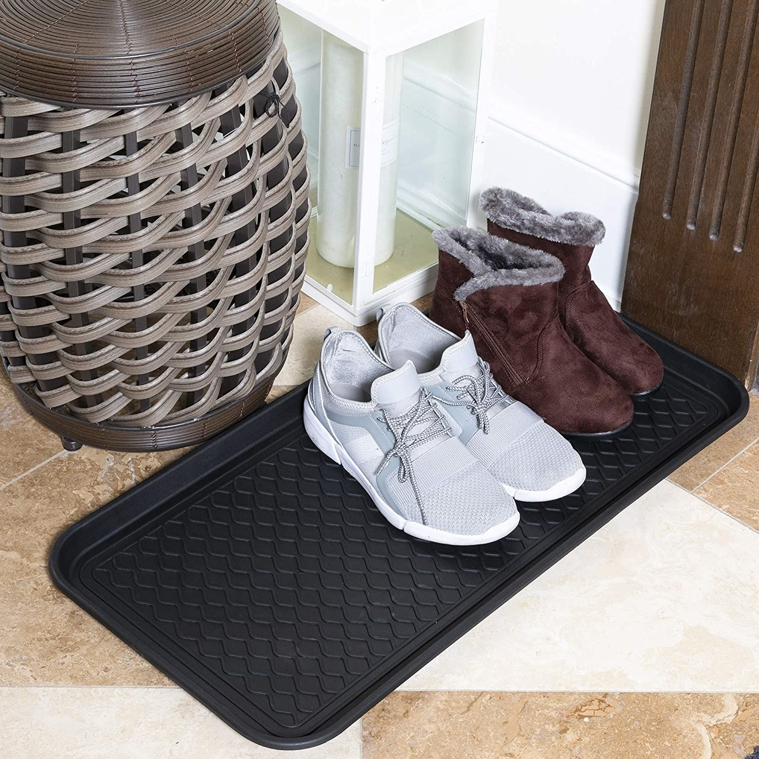 the boot tray in an entryway
