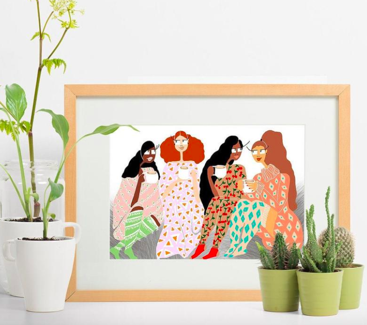 Colorful rectangle art print with women drinking cappuccinos and talking together