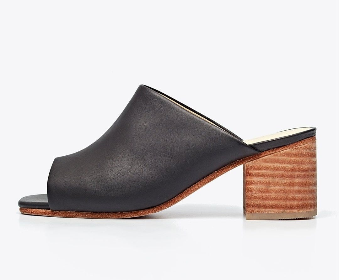 The heeled leather, open-toe mule