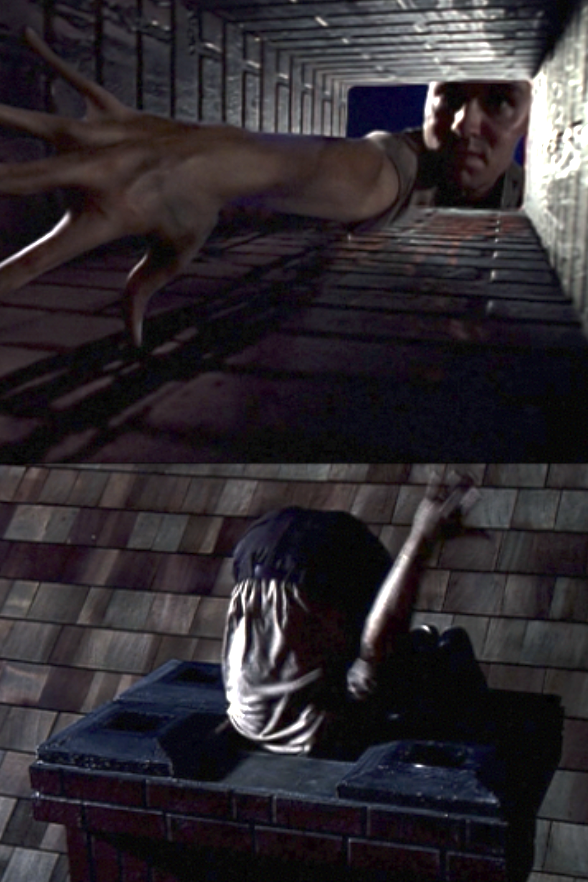 Tooms contorting his body to get through a chimney
