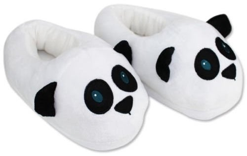 A pair of white and black panda slippers