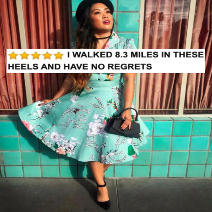"""Reviewer wearing the heels in black with five-star Amazon caption that says """"I walked 8.3 miles in these heels and have no regrets"""""""