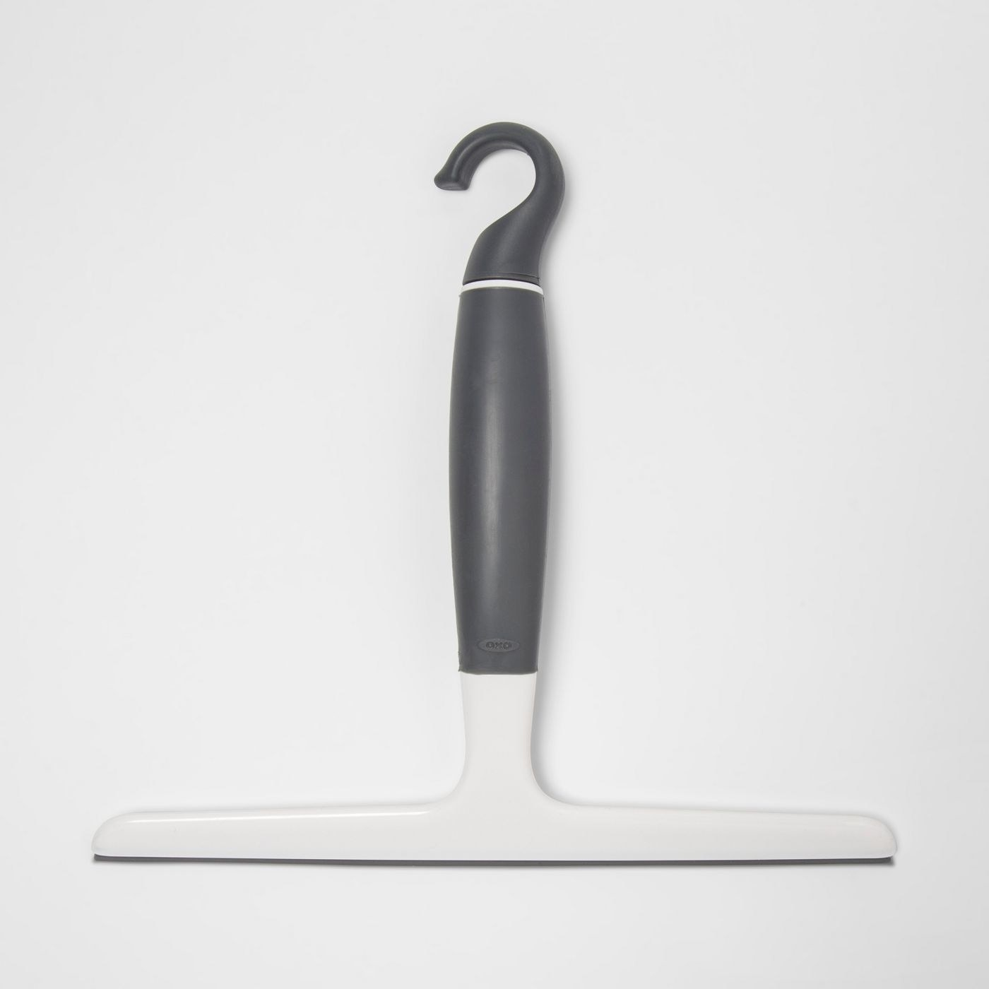 rubber squeegee with gray handle and white head