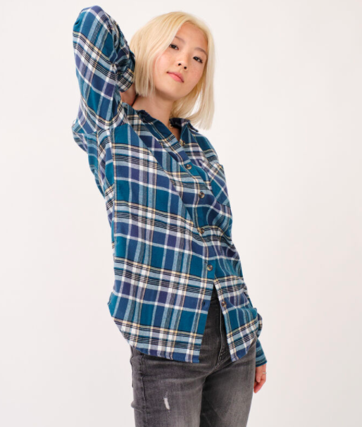 a plaid shirt with multiple shades of blue