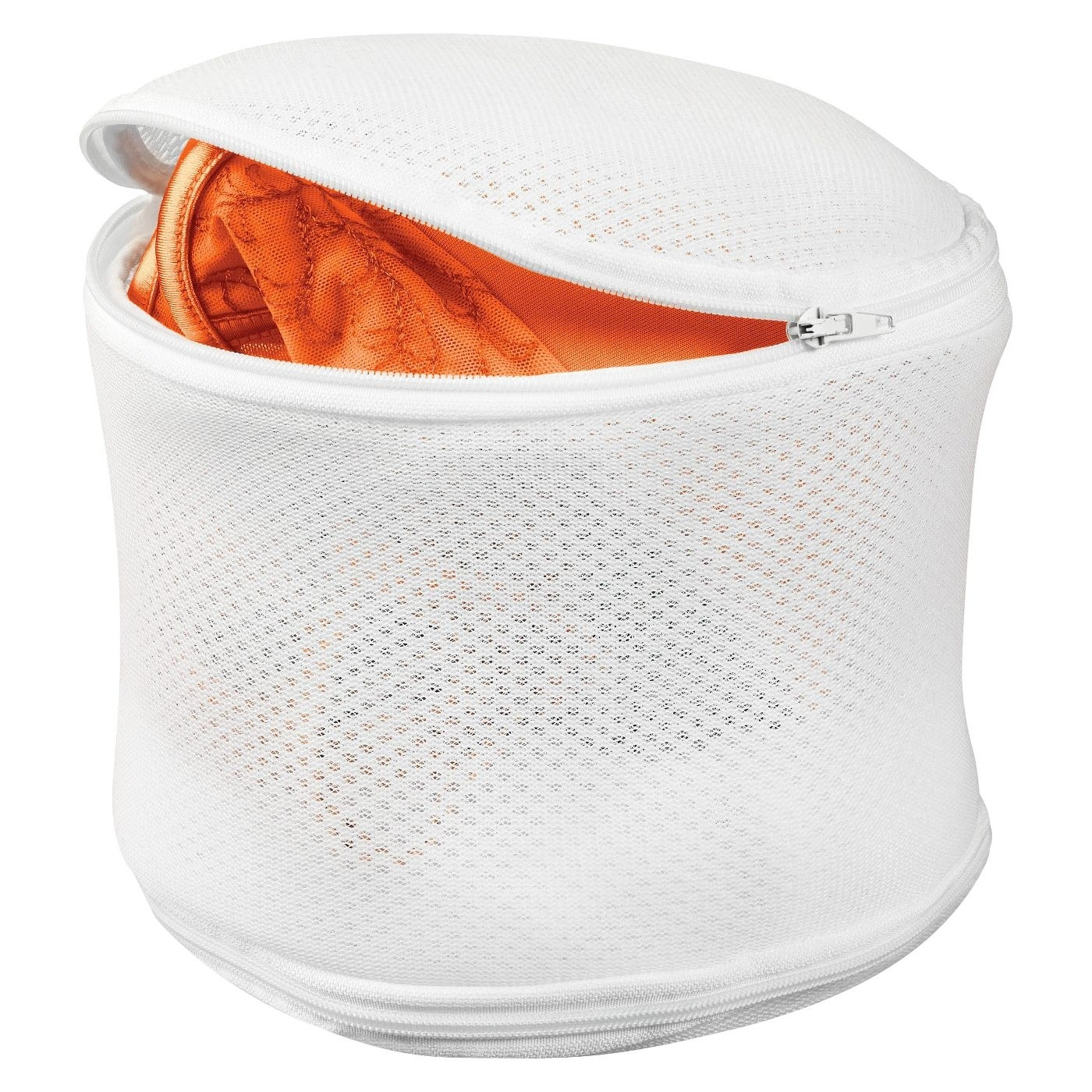 white mesh lingerie wash bag with an orange bra in it