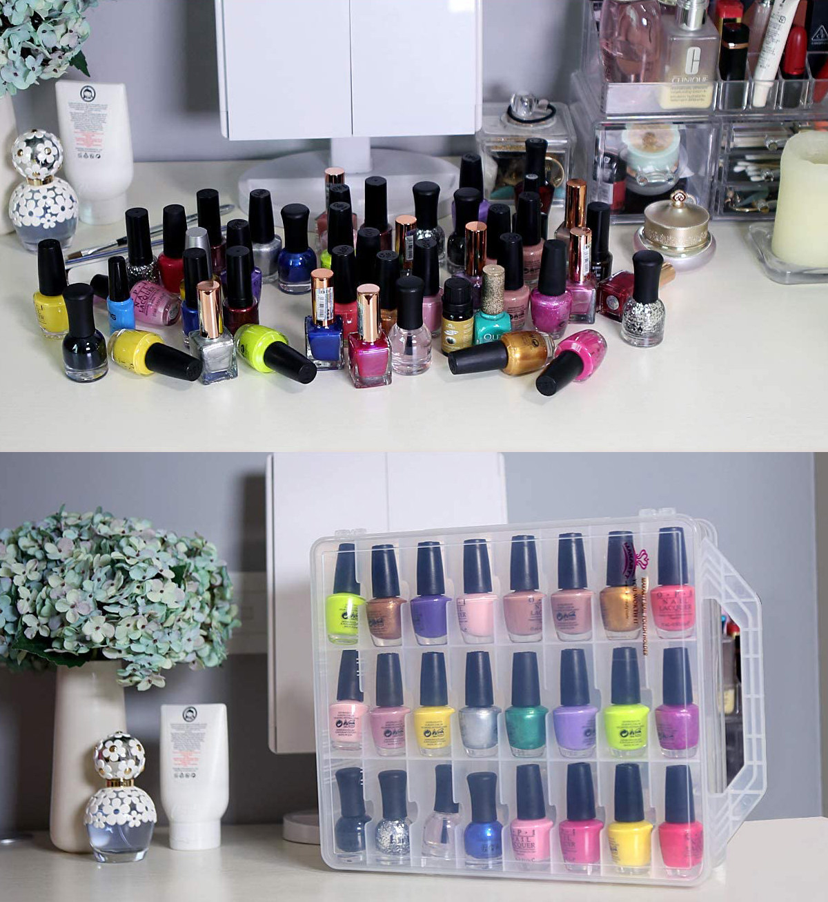 A plastic box filled with nail polish bottles