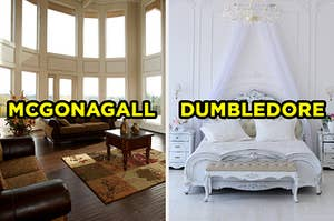"""On the left, a bright living room with windows surrounding it and leather armchairs labeled """"McGonagall,"""" and on the right, a fancy bedroom with a canopy bed, a chandelier, and two nightstands labeled """"Dumbledore"""""""