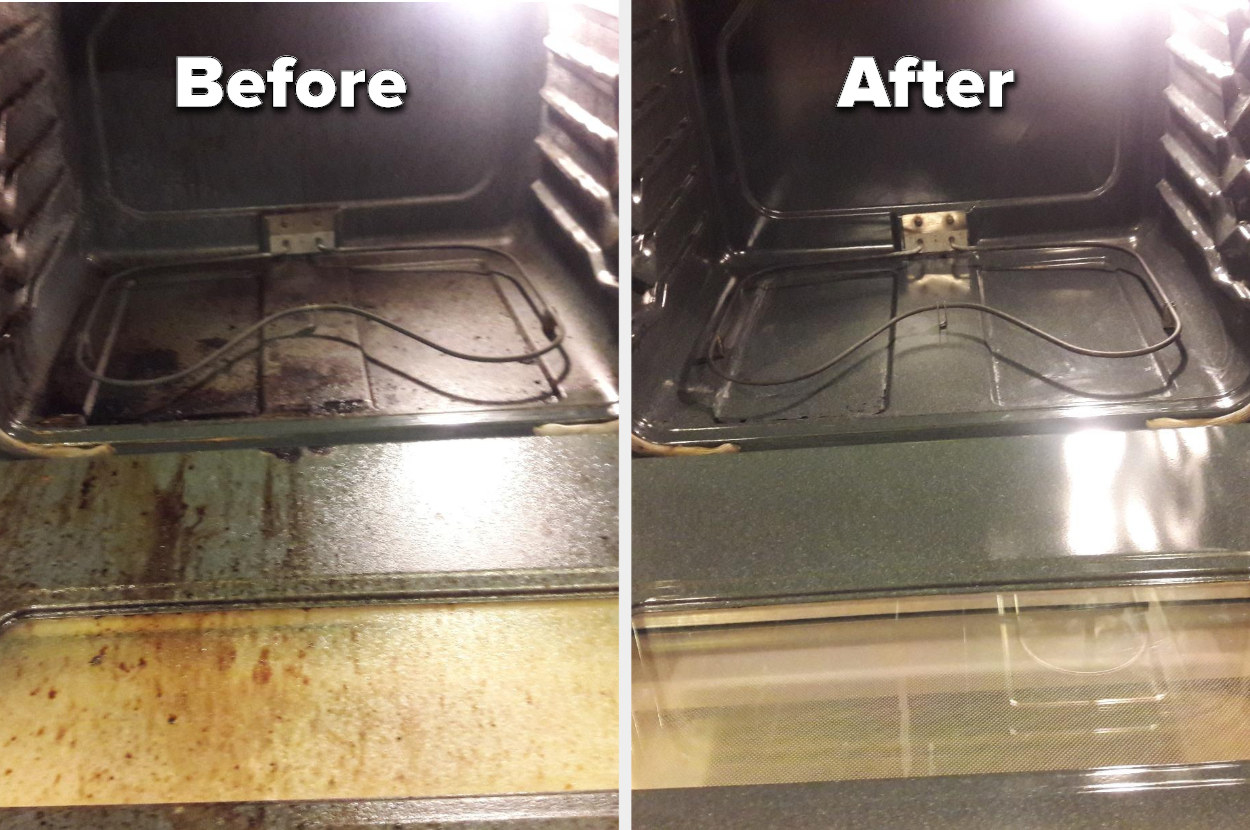 A reviewer's before and after photo of their dirty and now very clean oven interior
