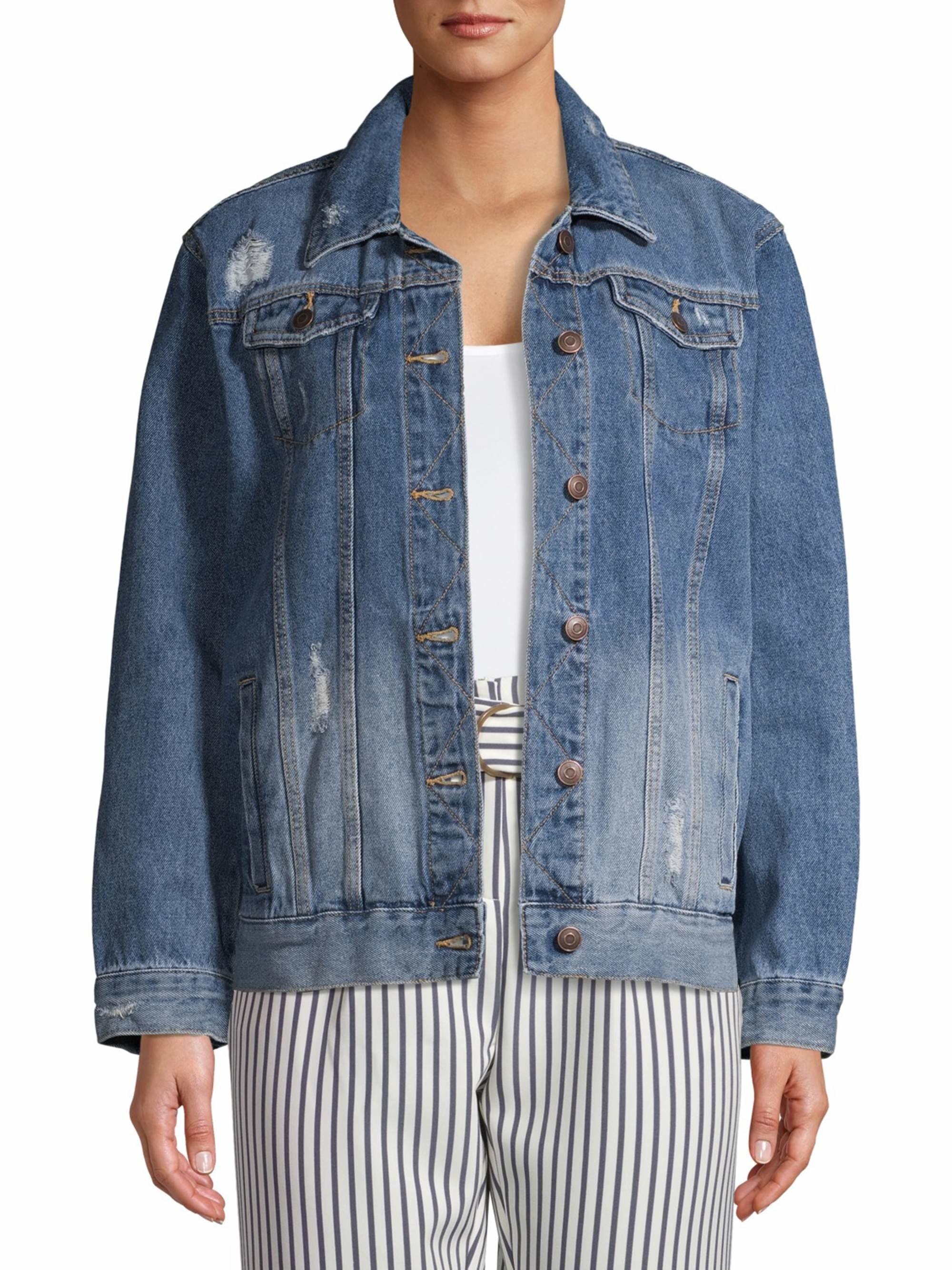 Model wears the slightly distressed jean jacket