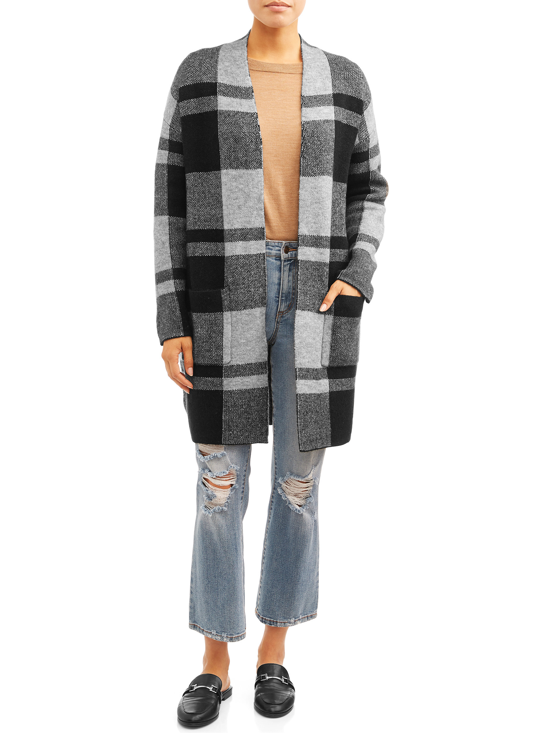 Model wears the plaid cardigan